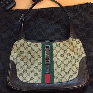 Authentic Gucci Jackie Brown leather/canvas